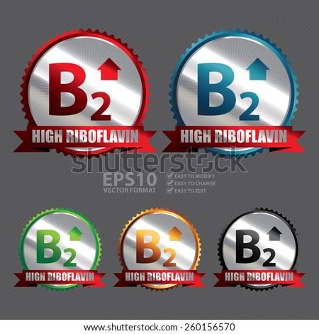 Vector : Silver High Riboflavin B2 Vitamin Ribbon, Badge, Icon, Sticker, Banner, Tag, Sign or Label - stock vector