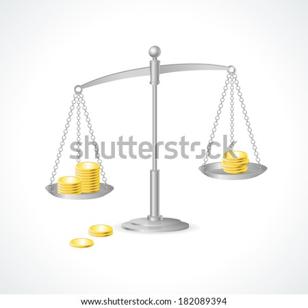 Vector silver justice scales and money - stock vector