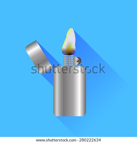 Vector Silver Metal Lighter Isolated on Blue Background - stock vector