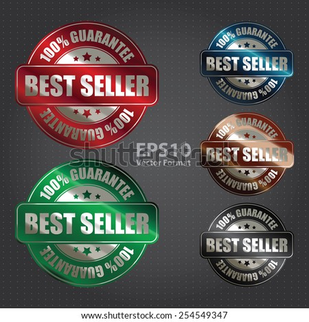 vector : silver metallic best seller 100% guarantee badge, sticker, banner, sign, icon, label