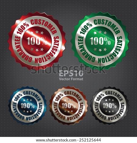 vector : silver metallic 100% customer satisfaction guarantee sticker, sign, badge, icon, label - stock vector