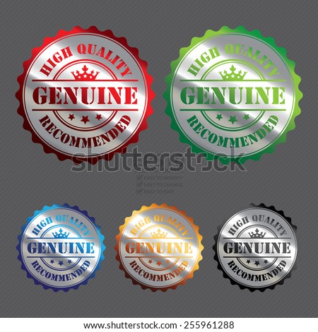 Vector : Silver Metallic Genuine High Quality Recommended Badge, Icon, Label, Banner, Tag or Sticker - stock vector