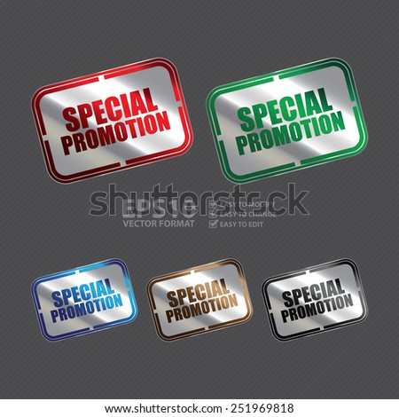 Vector : Silver Metallic Rectangle Special Promotion Icon, Sticker, Tag, Sign or Label - stock vector