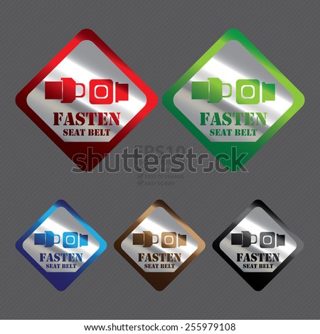 Vector : Silver Metallic Rhombus Fasten Seat Belt Icon, Label, Banner, Tag or Sticker  - stock vector