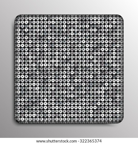 Vector. Silver paillette square button on grey background.