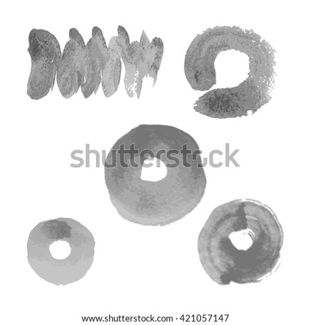 Vector silver paint smear stroke stain set on white background. Abstract gray glittering textured art illustration.