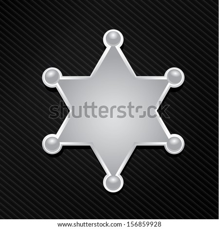 vector silver sheriff or police star badge on black background. vector six-pointed star - stock vector