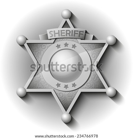 Vector silver Sheriff Star over white background - stock vector