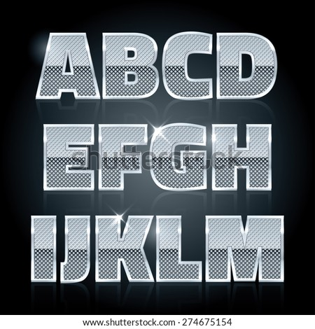 Vector silver steel stamped alphabet. Diamond letters - stock vector