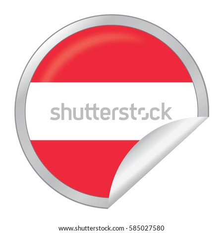 Vector silver sticker with map and flag of the austria vector eps 10 illustration isolated
