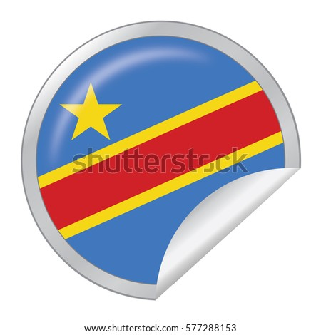 Vector silver sticker with map and flag of the democratic republic of the congo vector