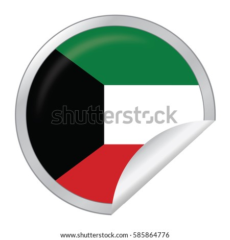 Vector silver sticker with map and flag of the kuwait vector eps 10 illustration isolated