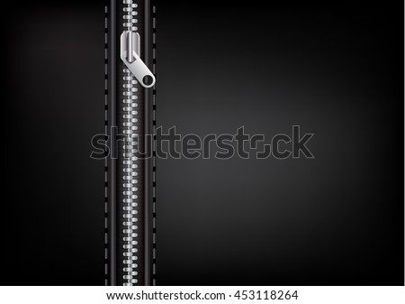 Vector silver zipper on a leather background