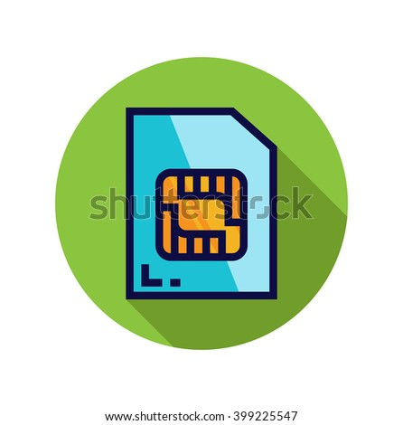 Vector Sim Card Icon with Long Shadow Effect