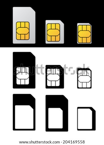vector sim card standard micro nano adapter - stock vector
