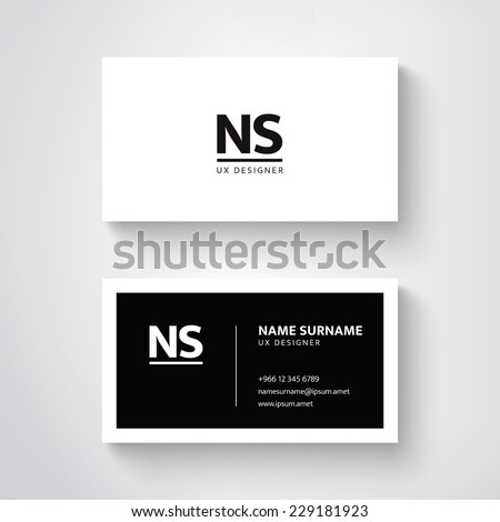 Vector simple  business card template. Clean design