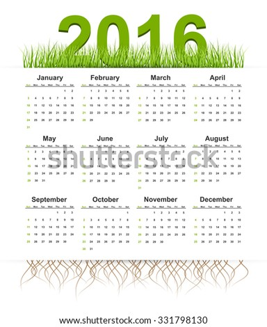 Vector simple calendar 2016 year. Grass style.