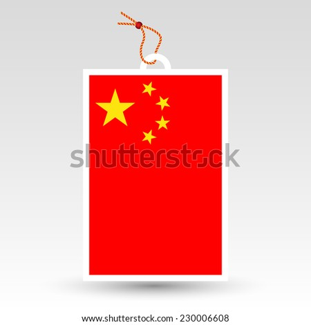 vector simple chinese price tag - symbol of made in china - label with string - national flag pattern - stock vector