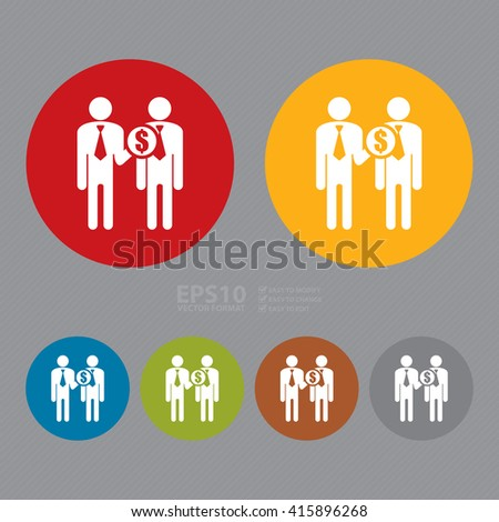 Vector : Simple Circle Businessman Give Money, Business Trading, Deal Infographics Flat Icon, Sign - stock vector