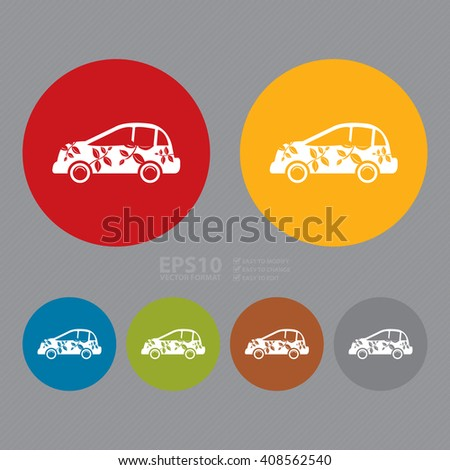 Vector : Simple Circle Eco Car Infographics Flat Icon, Sign  - stock vector