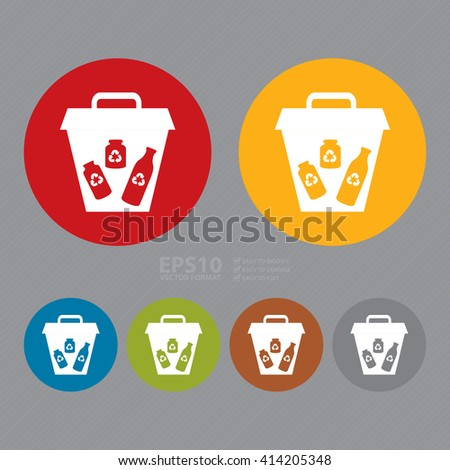 Vector : Simple Circle Glass Recycle Bin Infographics Flat Icon, Sign - stock vector