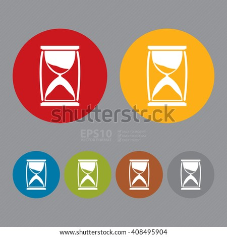 Vector : Simple Circle Sandglass Infographics Flat Icon, Sign - stock vector