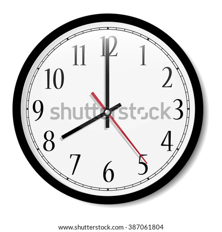 Vector simple classic black and white round wall clock isolated on white. Clock on wall shows eight o'clock  - stock vector