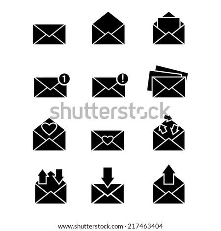Vector simple designed email message icons set with different envelopes isolated on white - stock vector