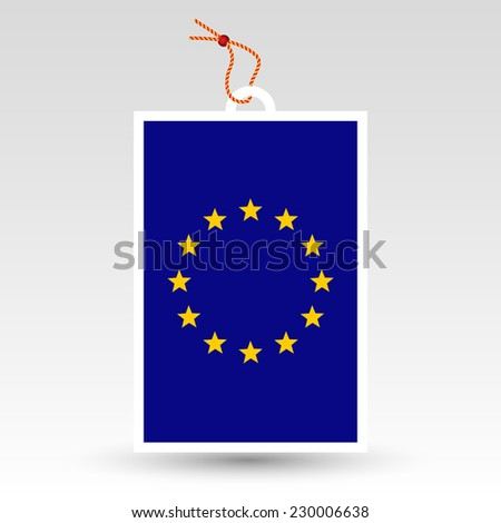 vector simple eu tag - symbol of made in european union - label with string - stock vector