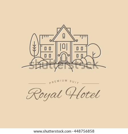Hotel resort logo design luxury resort stock illustration for Design hotel chain