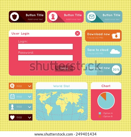 Vector simple flat modern UI design website elements - member login, download, world map, statistics and dropdown buttons. For smartphones, games, and tablets. - stock vector