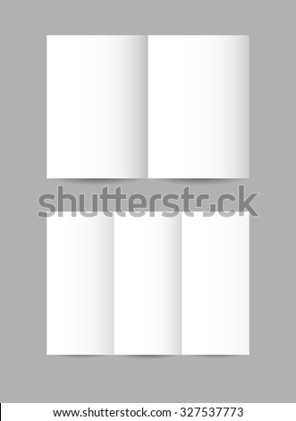 Vector simple folded paper leaflets in white color