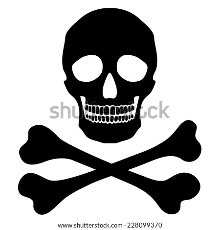Vector simple human skull with crossbones, danger sign, isolated black object  - stock vector
