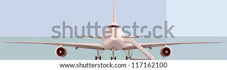 Vector simple illustration of big plan in front, with the chassis and ladders. - stock vector