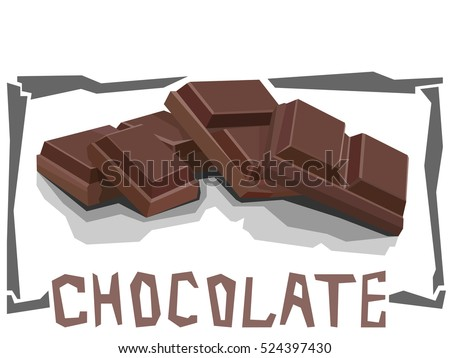 Vector simple illustration of chocolate bar in angular cartoon style.