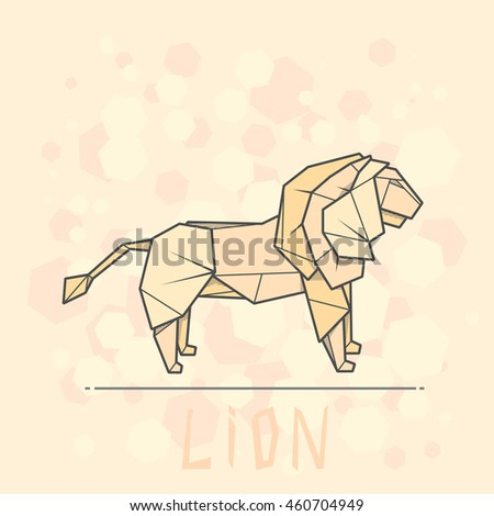 Vector Simple Illustration Paper Origami Of Lion