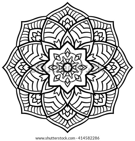 Vector Simple Mandala On White Background Stock Vector