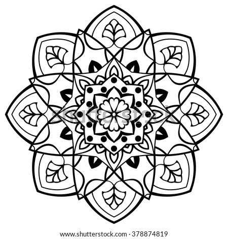 Vector Simple Mandala Round Ornament Coloring Stock Vector