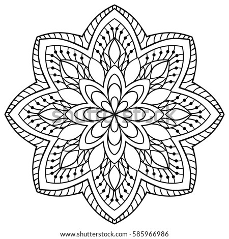 Vector Simple Mandala Abstract Elements Isolated 585966986 on drawing circle pattern