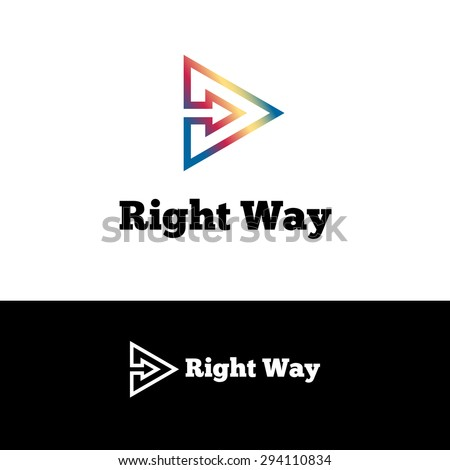 Vector simple outline arrow in triangle negative space logotype  - stock vector