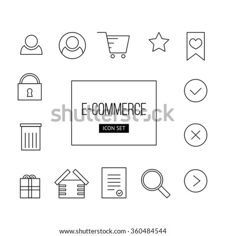 Vector simple outline set of icon e-commerce: user, delete, shop, favorite, star, close, yes, gift, password for web and mobile app.