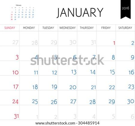 Vector simple planning calendar January 2016. Weeks start on Sunday - stock vector