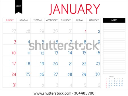 Vector simple planning calendar January 2016 with a place for notes. Weeks start on Sunday - stock vector