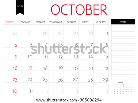 Vector simple planning calendar October 2016 with a place for notes. Weeks start on Sunday - stock vector