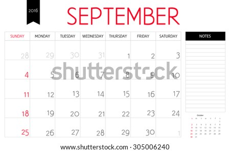 Vector simple planning calendar September 2016 with a place for notes. Weeks start on Sunday - stock vector