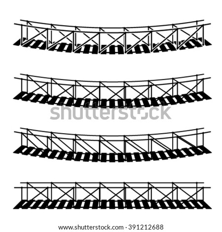 vector simple rope suspension hanging bridge black symbol - stock vector