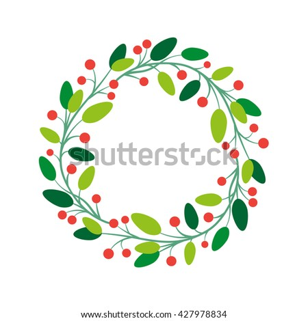 Vector simple round fresh floral frame design. - stock vector