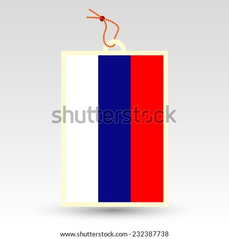 vector simple Russian price tag - symbol of made in Russia - label with string - national flag pattern - stock vector