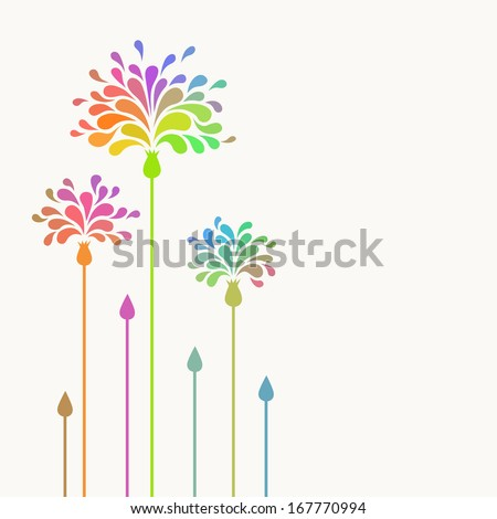 Vector simple stylized flowers with colorful petals in shape of drop. Invitation and greeting card with bunch. Floral simple abstract decorative illustration with text box for print, web - stock vector