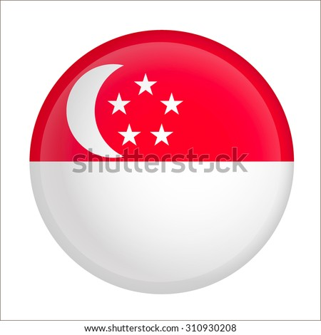 Vector - Singapore Flag Glossy Button - stock vector